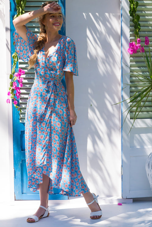 Petal Blue Daisy Maxi Wrap Dress ~ Restocked