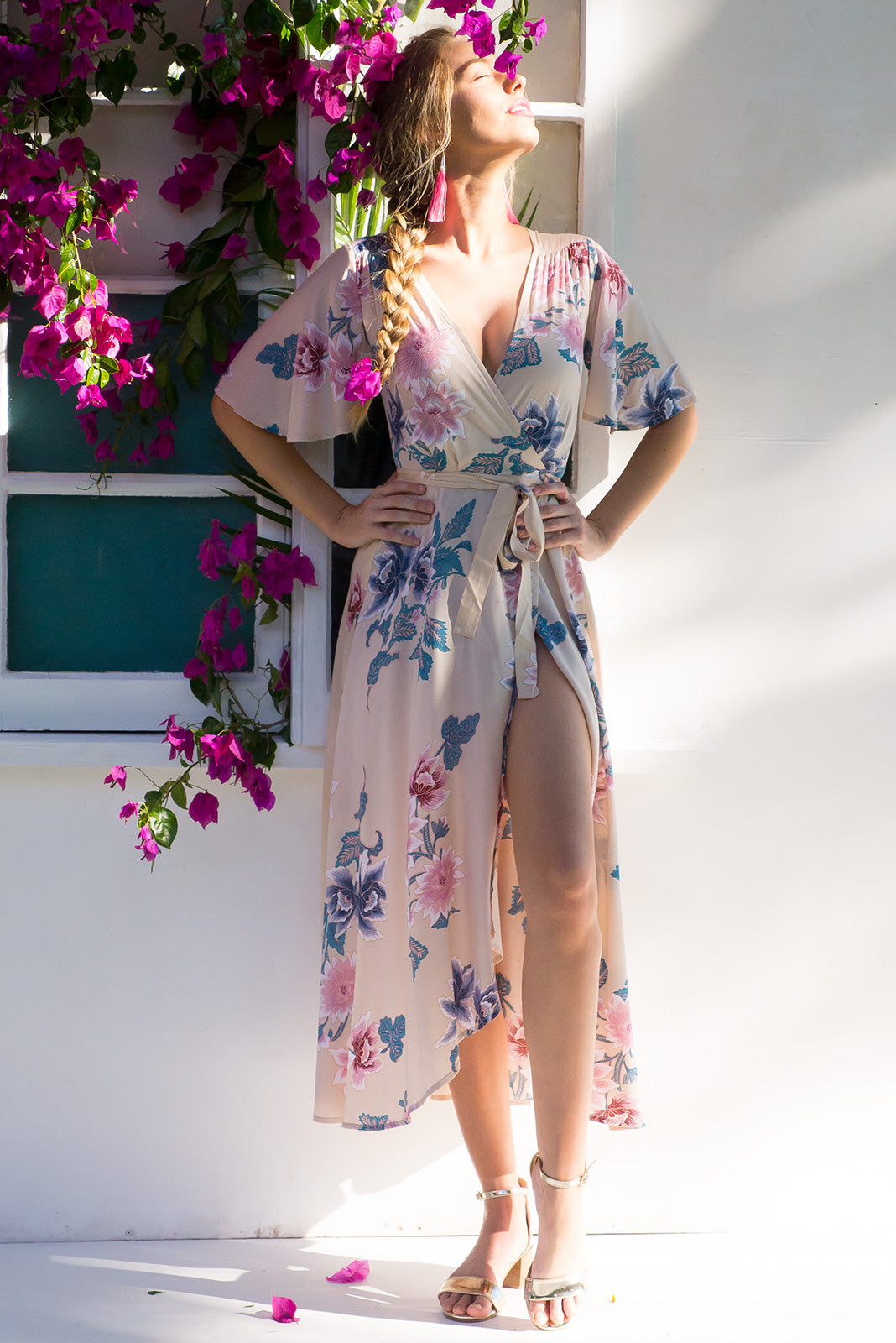 Petal Carito Cream Maxi Wrap dress with flutter sleeves and soft cream based floral print on rayon fabric, wraparound dress, plus size fashion