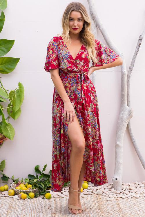 Petal Crimson Honey Eater Maxi Wrap Dress