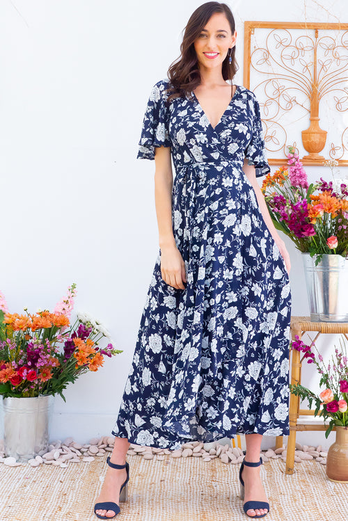Petal Fortnums Navy Maxi Wrap Dress