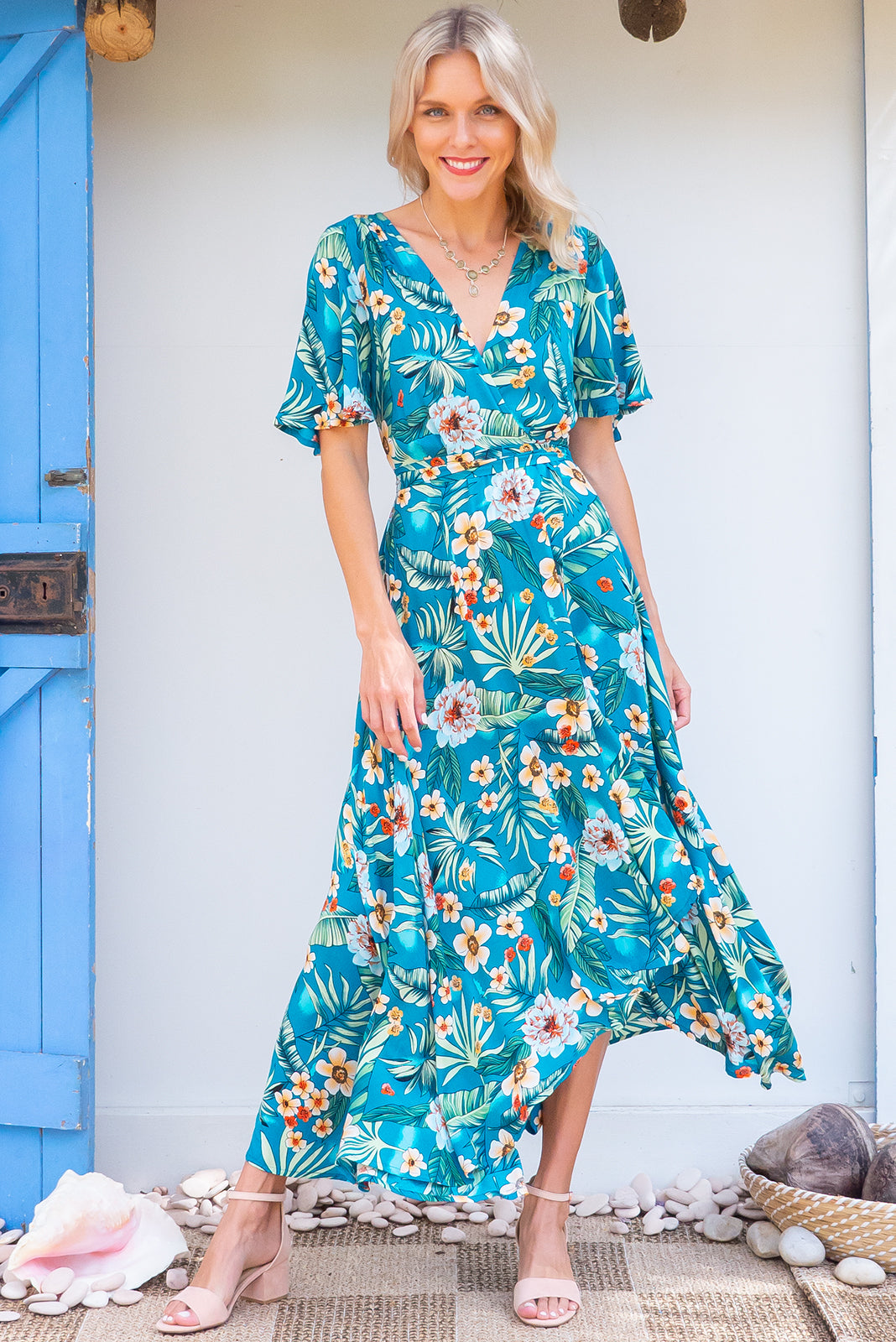 Petal Lucia Jungle Wrap Maxi Dress, turquoise jungle print wrap around dress with petal sleeves, suitable for breastfeeding and maternity
