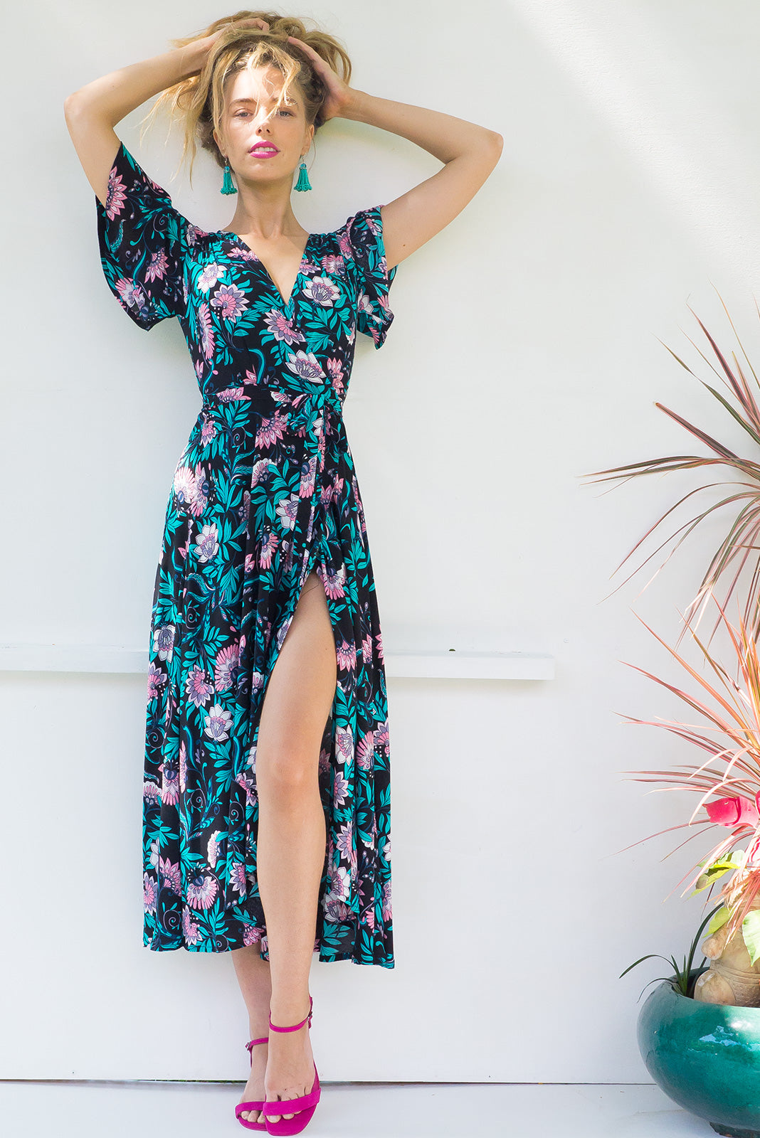 Petal Magical Black Maxi Wrap dress with flutter sleeves in a bright dark black floral print on soft rayon