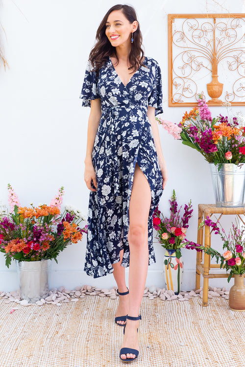 Petal Midnight Roses Navy Maxi Wrap Dress