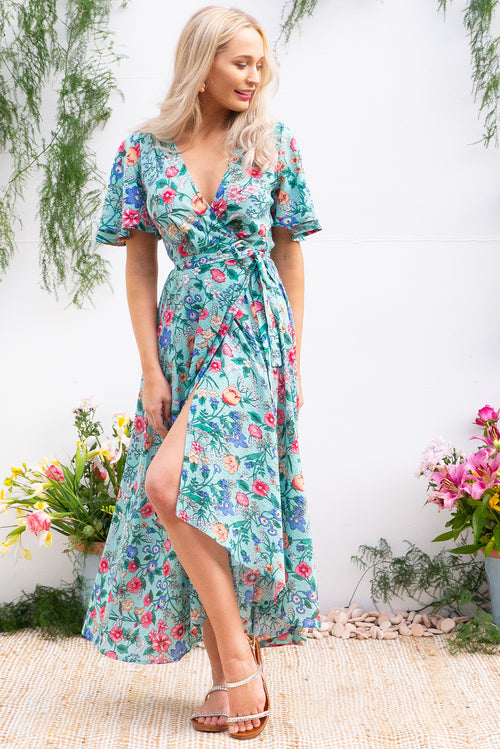 Petal Minty Meadow Floral Cotton Maxi Wrap Dress