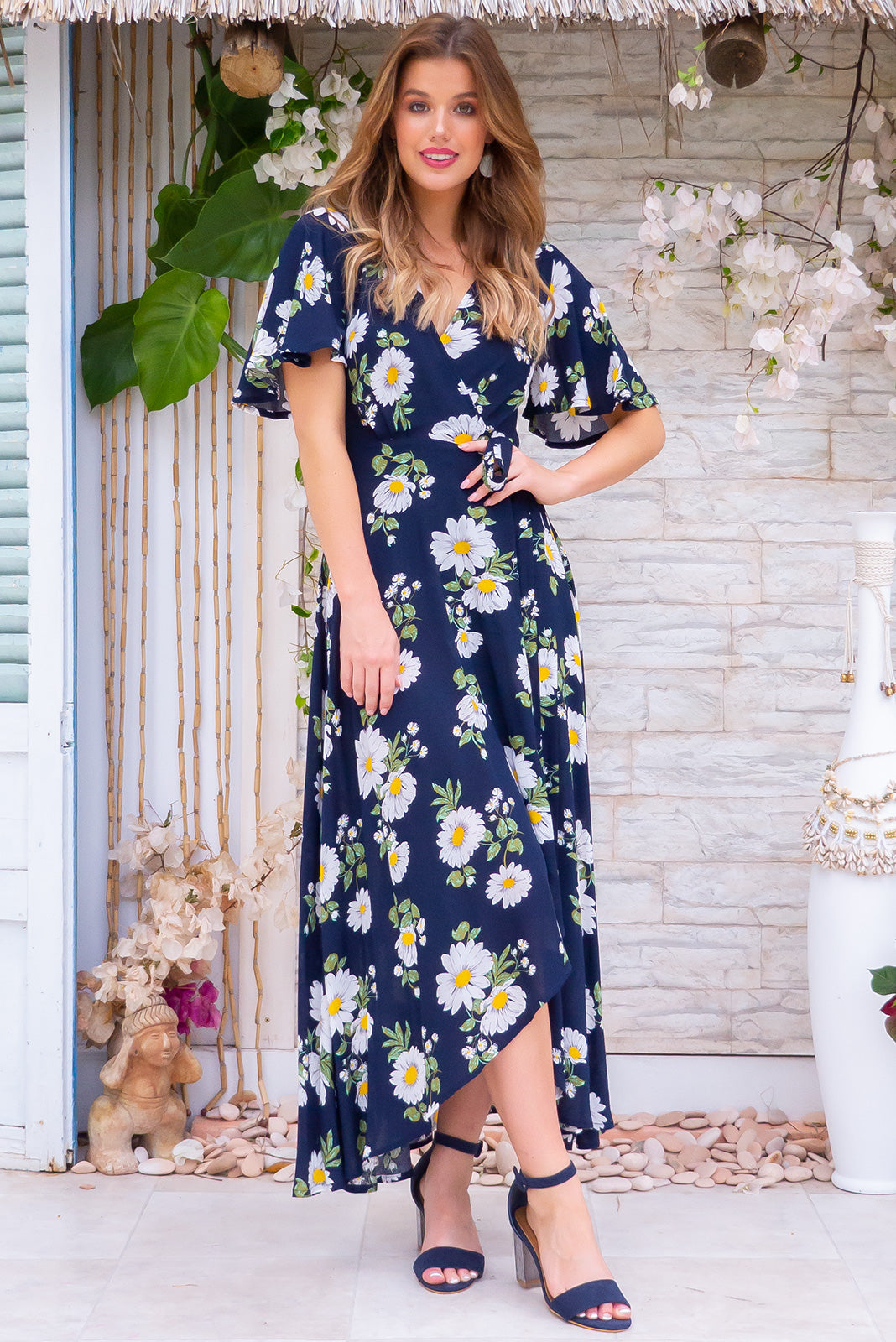 Petal Navy Daze Maxi Wrap Dress daisy floral retro vintage inspired print rayon design with flutter sleeves and flowing skirt.