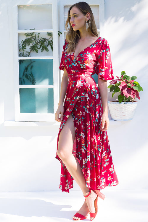 Petal Roman Red Maxi Wrap Dress