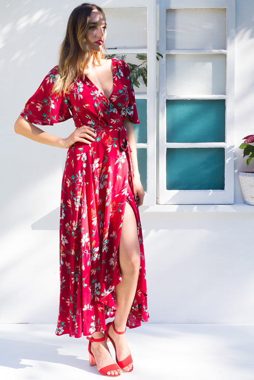 Petal Roman Red Maxi Wrap Dress ~ Restocked