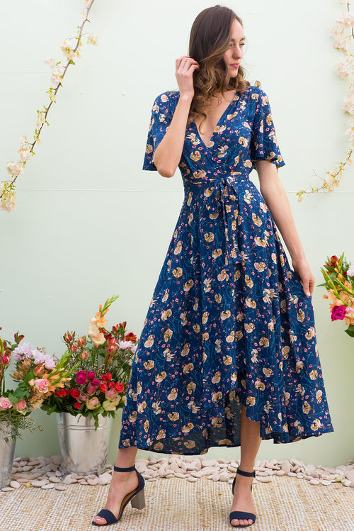 Petal Navy Wildflower Maxi Wrap Dress