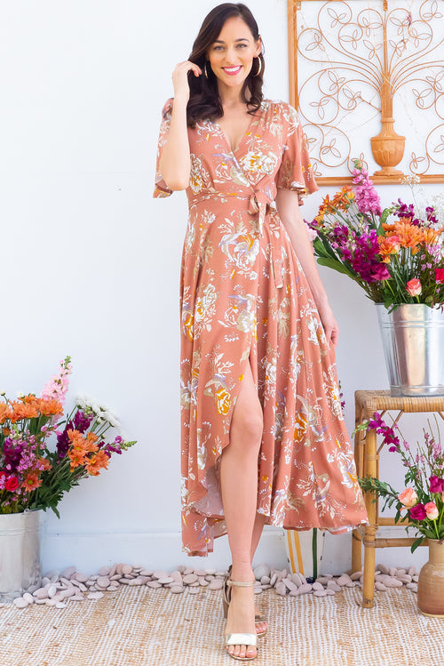 Petal Sepia Sparrow Maxi Wrap Dress