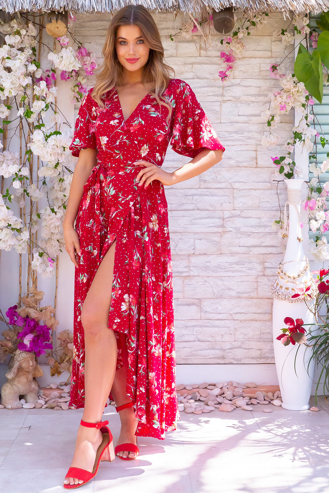 Petal Summer Red Maxi Wrap Dress made from 100% rayon, floral vintage inspired design with flutter sleeves and full skirt.