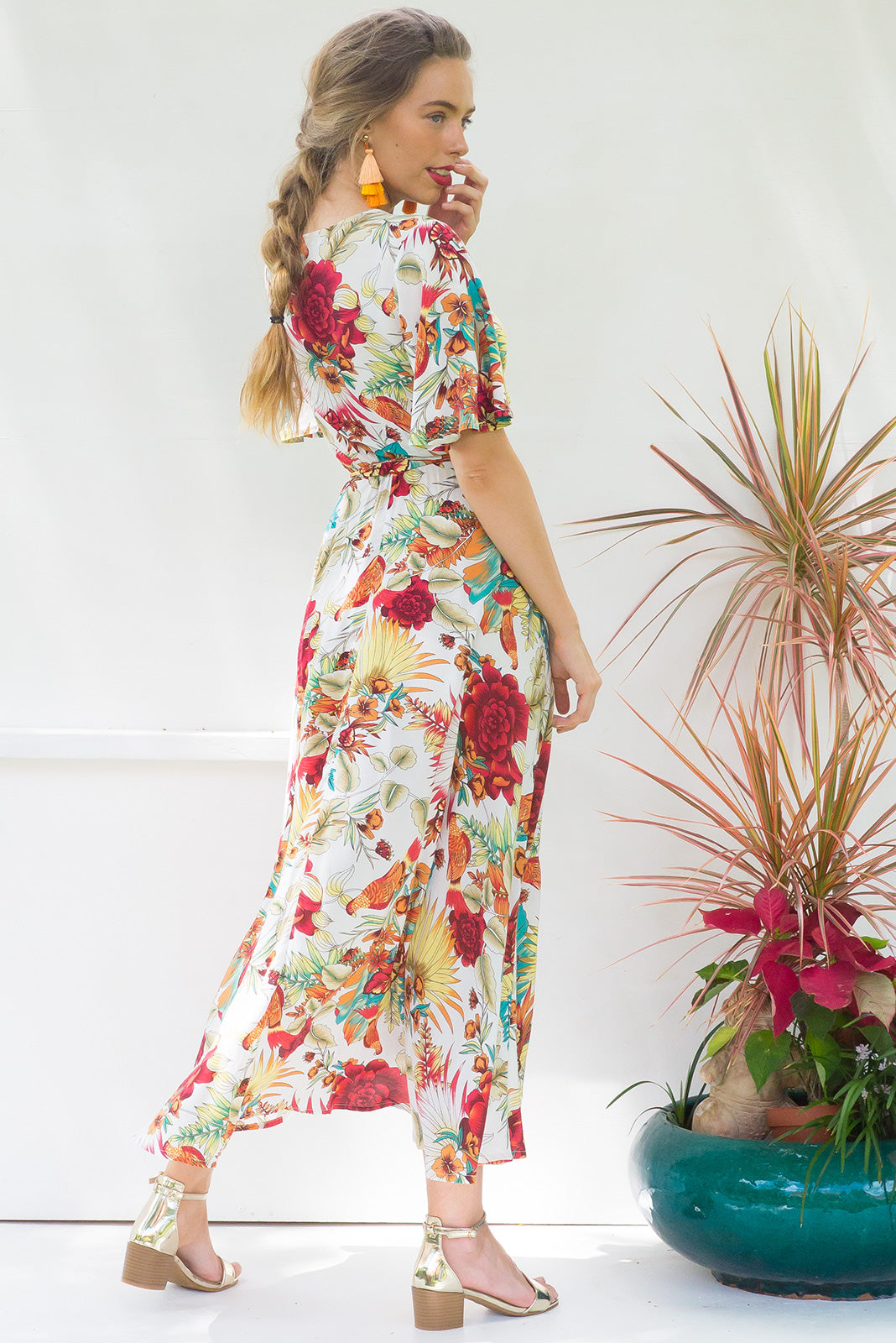 Petal Sunset Bird of Paradise Maxi Wrap dress with flutter sleeves in a cream and earthy coloured tropical print