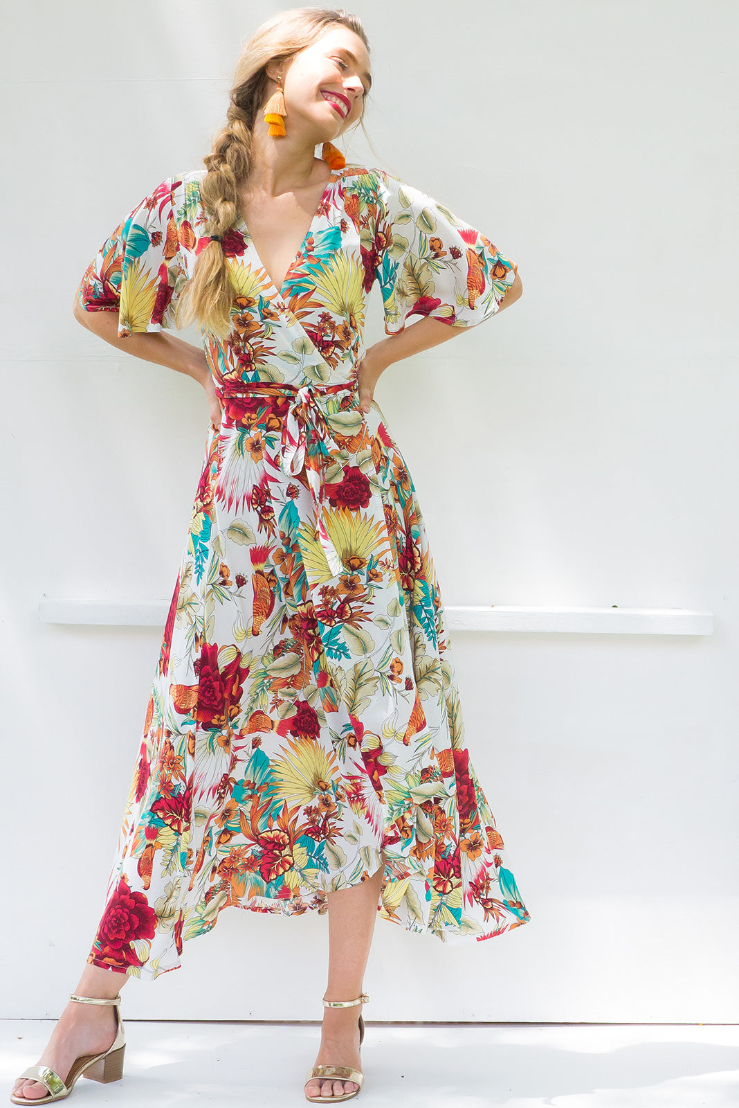 Petal Sunset Bird of Paradise Maxi Wrap Dress ~ Restocked