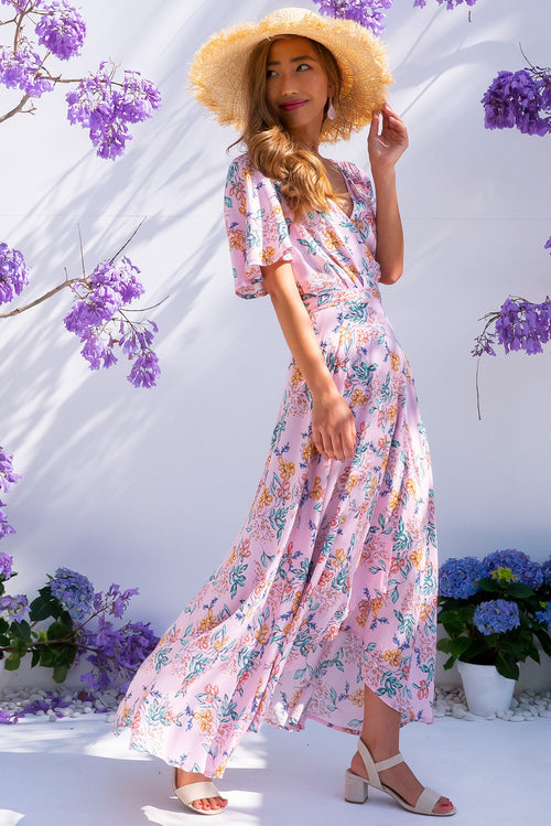 Petal Sweet Dreams Pink Maxi Wrap Dress
