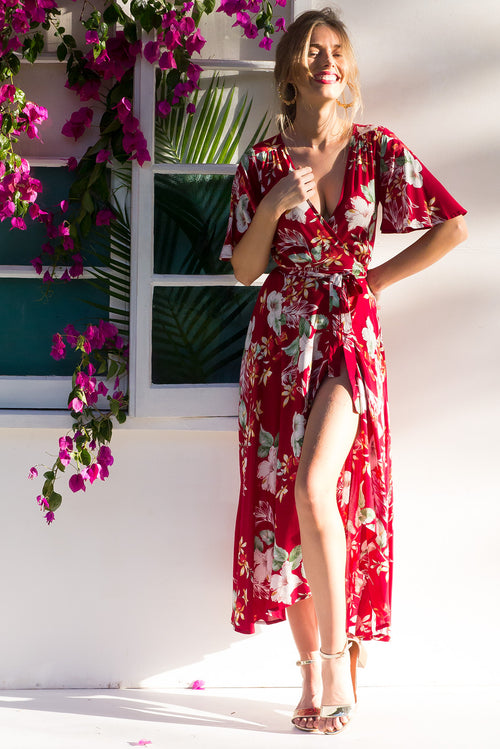 Petal Sweetheart Red Maxi Wrap Dress
