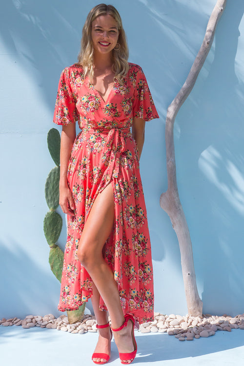 Petal Terracotta Roses Maxi Wrap Dress