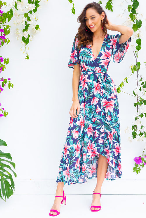 Petal Tiger Lilly Maxi Wrap Dress