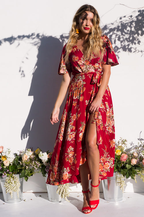 Petal Wine 'n' Roses Maxi Wrap Dress - Restocked