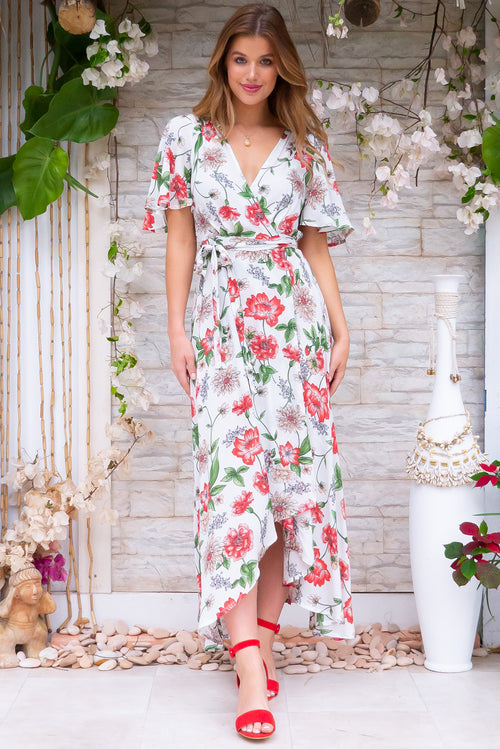 Petal Winsome White Maxi Wrap Dress