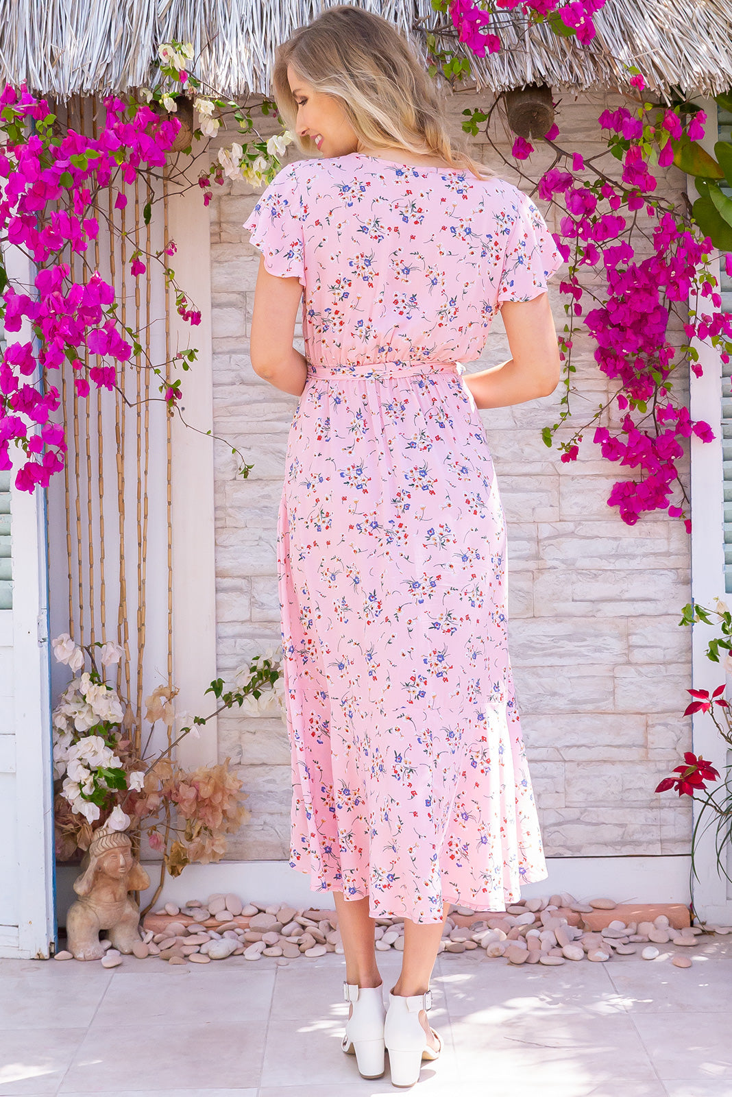 Phinda Pink Floralie Maxi Dress in 100% rayon feminine and flowy frock. Vintage and spring inspired, features waist ties and side pockets.