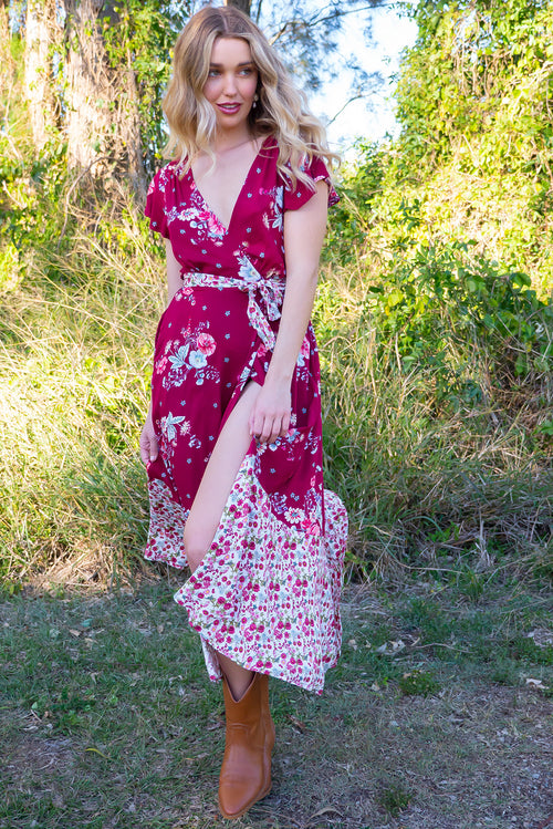 Phinda Rosella Red Maxi Wrap Dress