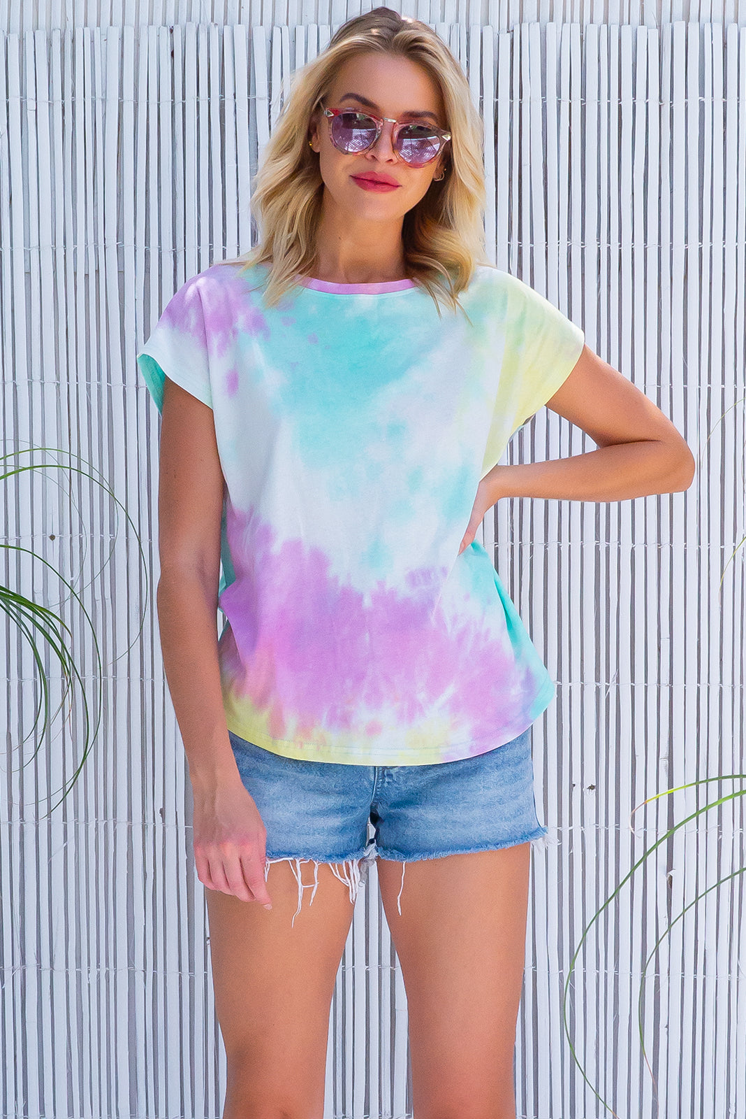 The Phoenix Rainbow Tie Dye Tee is a cool 60s inspired T-shirt featuring knit 100% Cotton in white, pink, yellow and mint tie dye.