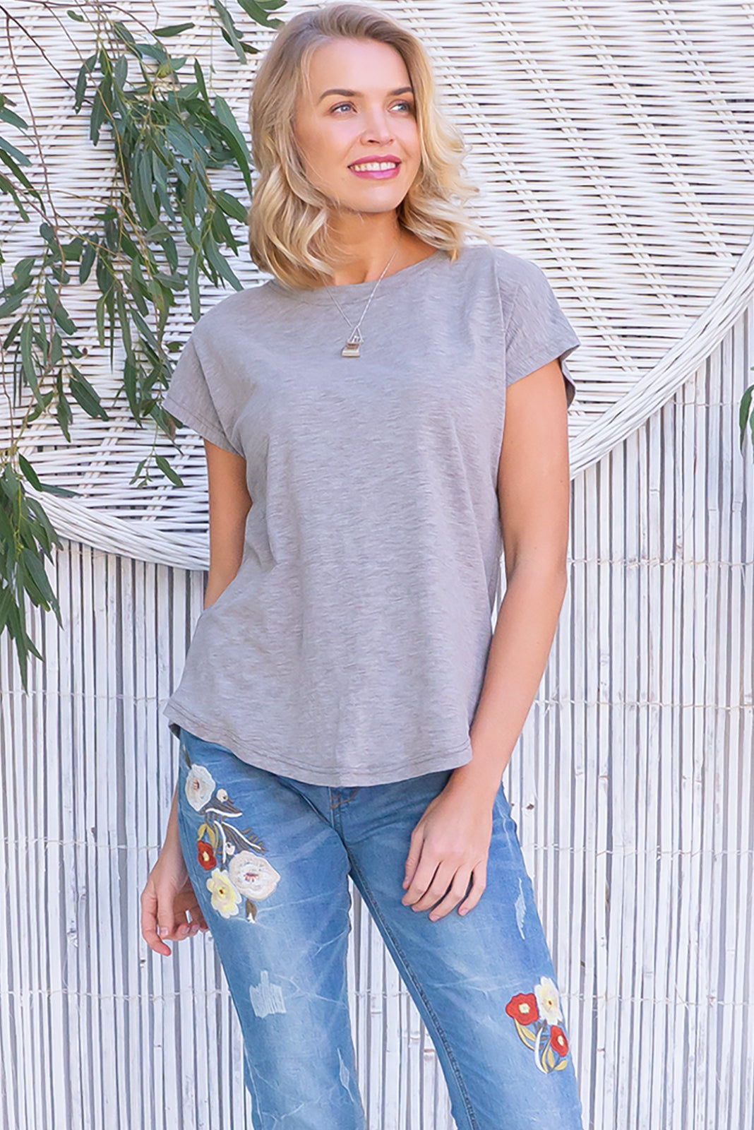 Phoenix Flint short sleeve tshirt has a relaxed fit and is made of soft cotton polyester fabric in a warm pale grey colour.