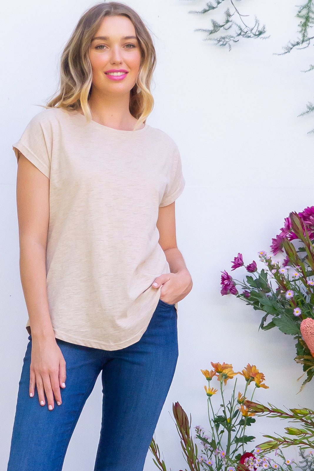 Phoenix Ecru short sleeve tshirt has a relaxed fit and is made of soft cotton polyester fabric with a scoop neckline and cap sleeve in a warm latte cream beige colour