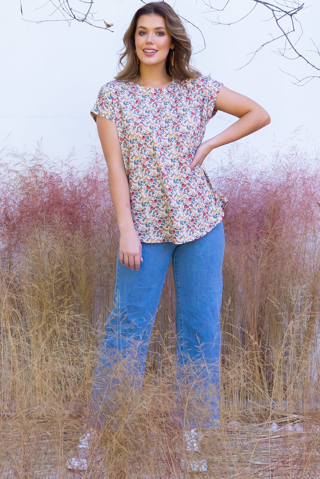Phoenix Antique Roses short sleeve tshirt has a relaxed fit and is made of soft cotton polyester fabric with a scoop neckline and cap sleeve in a warm cream antique roses print