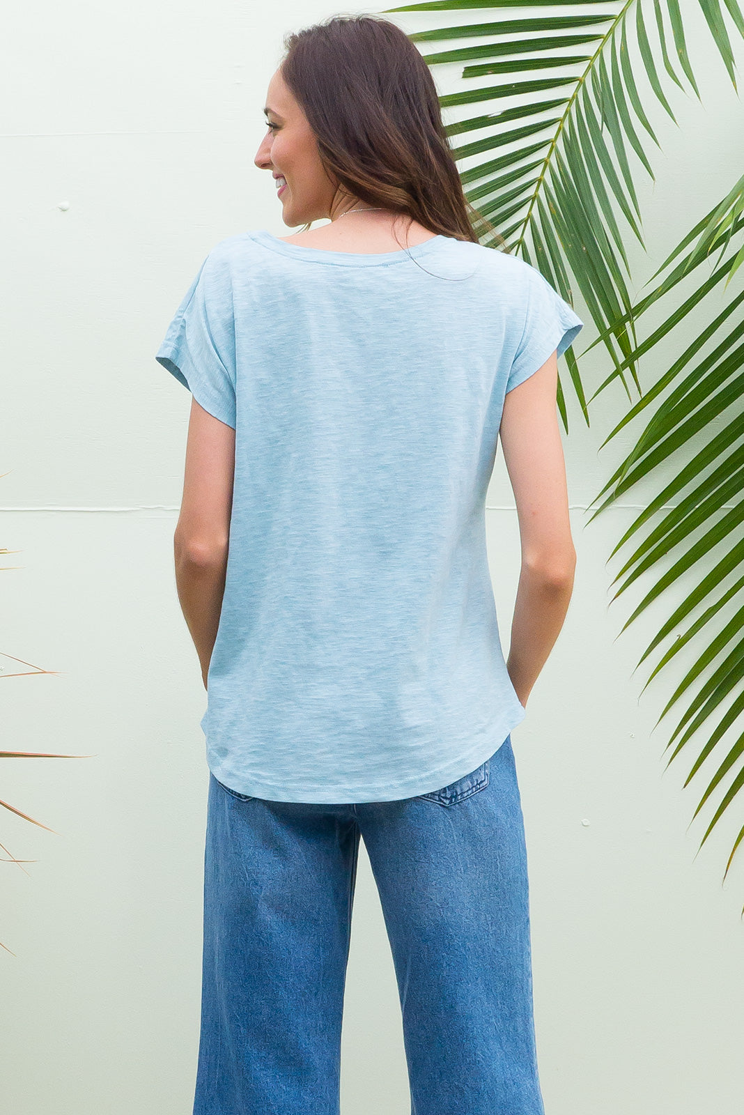 Phoenix short sleeve tshirt has a relaxed fit and is made of soft cotton polyester fabric in a warm sky blue colour
