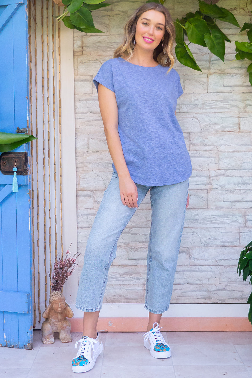 Phoenix Blue Marle short sleeve tshirt has a relaxed fit and is made of soft cotton polyester fabric with a scoop neckline and cap sleeve in a cool blue marle