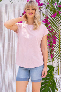 Phoenix Tee Blush Pink, bohemian summers style, 55% cotton 45% polyester, classic t-shirt cut, curved hem, soft stretch, soft warm toned blush pink.