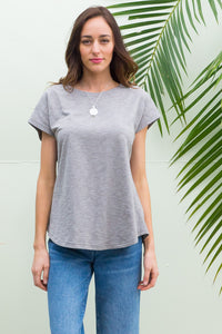 Phoenix short sleeve tshirt has a relaxed fit and is made of soft cotton polyester fabric in a warm pale grey colour