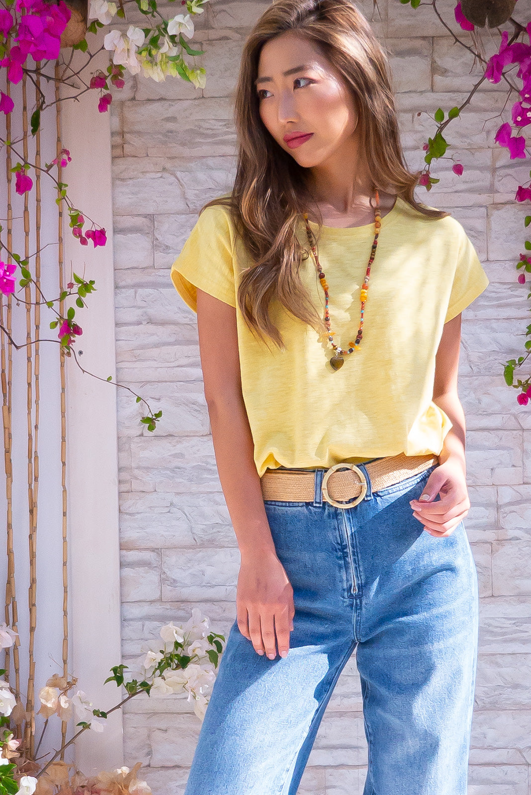 Phoenix Tee Golden Sun Yellow Cotton Shirt perfect for spring/summer. Relaxed and soft fit, classic t-shirt cut. Wear loose or tied up cropped.