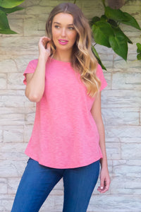 Phoenix Living Coral short sleeve tshirt has a relaxed fit and is made of soft cotton polyester fabric with a scoop neckline and cap sleeve in a warm watermelon coral red colour