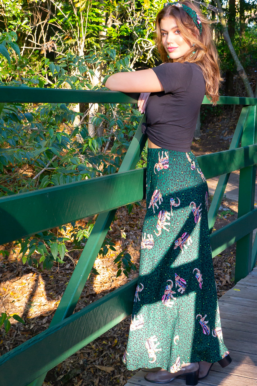 Pia Elephant Party Maxi Skirt _ Gypsy fashion, green leopard print with bohemian Indian elephants. Great for curvy, plus size, tall, petite women. Colourful, fun. Perfect for street style, casual wear, festival, day wear, night out, everyday. Designed in Brisbane Australia