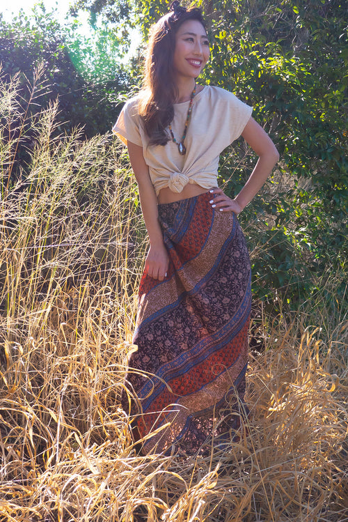 Pia Route 66 Rust Maxi Skirt