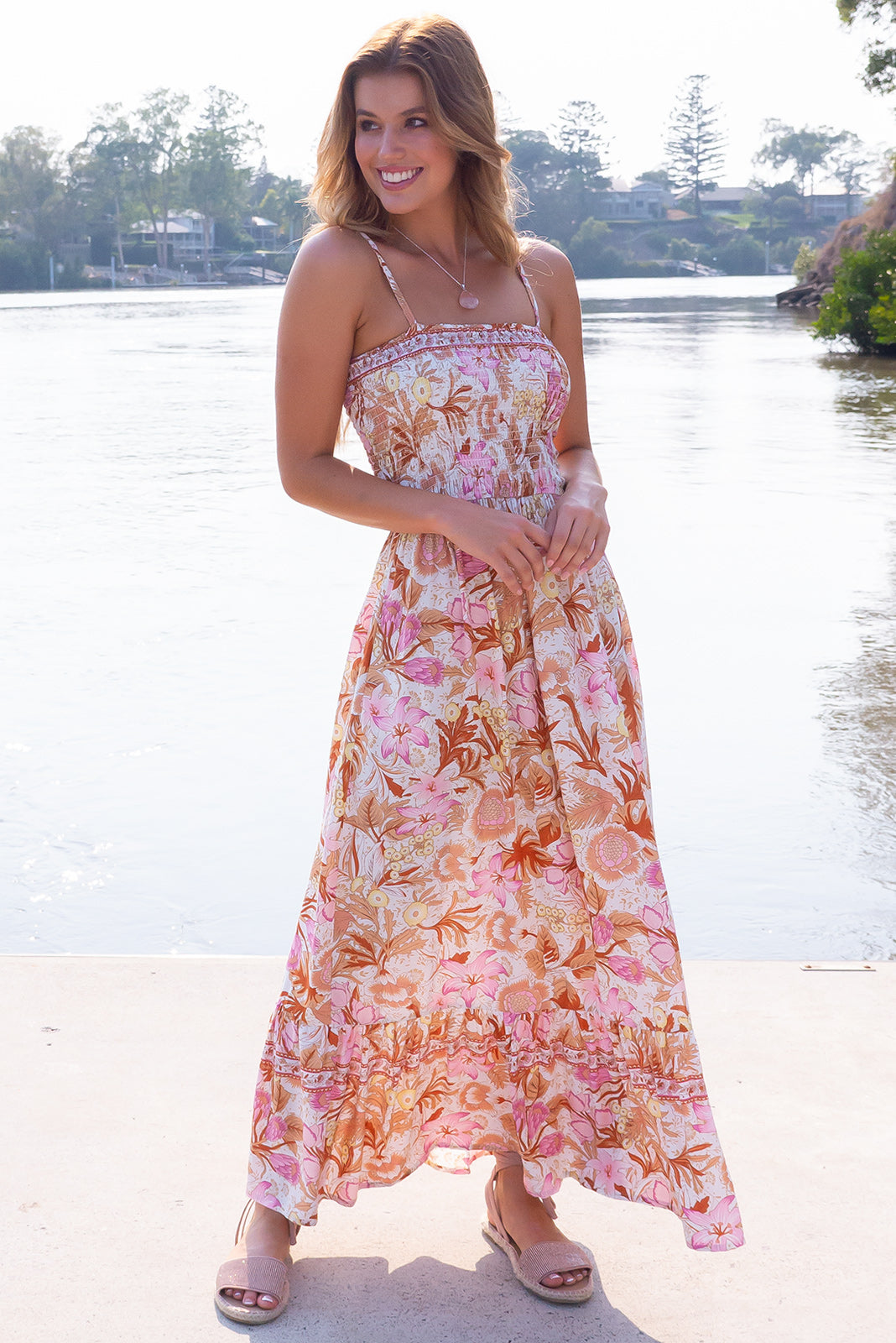Poetry Chateau Pink Maxi Dress, bohemian summer style, side pockets, elasticated shirred bodice, off-white base with medium floral print featuring warm copper and pink.
