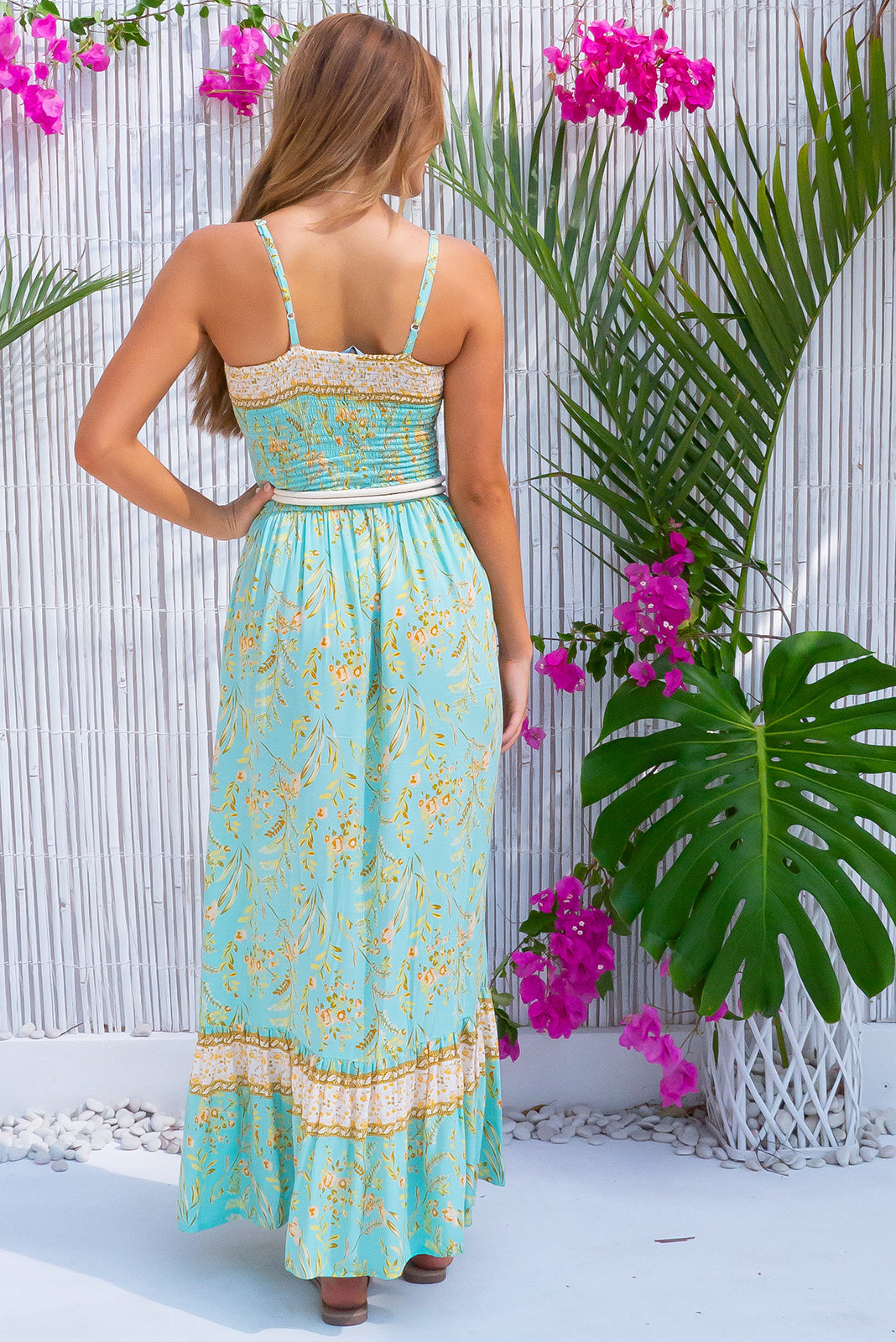 Poetry Magical Mint Maxi Dress, bohemian summer style, side pockets, elasticated shirred bodice, mint base with medium floral print featuring gold and white.