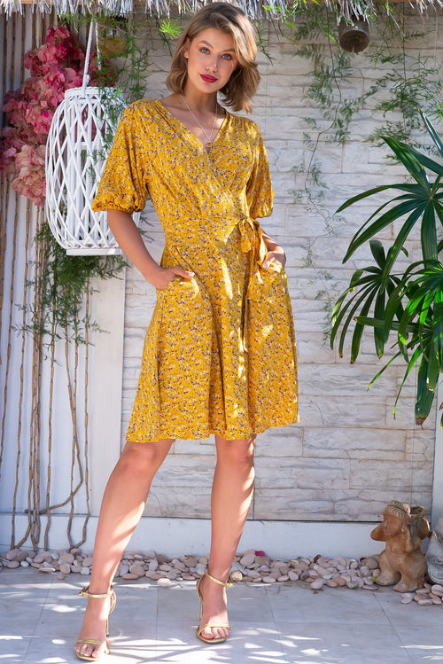 Poppi Gold Splash Wrap Dress