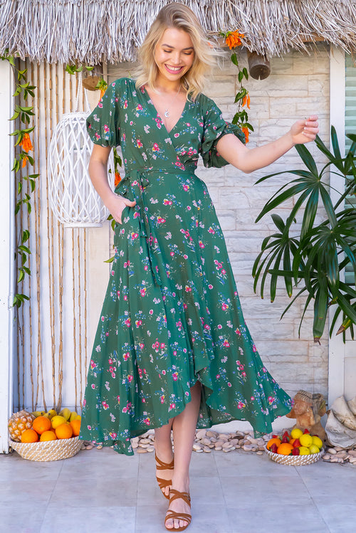 Posy Gentle Green Maxi Wrap Dress