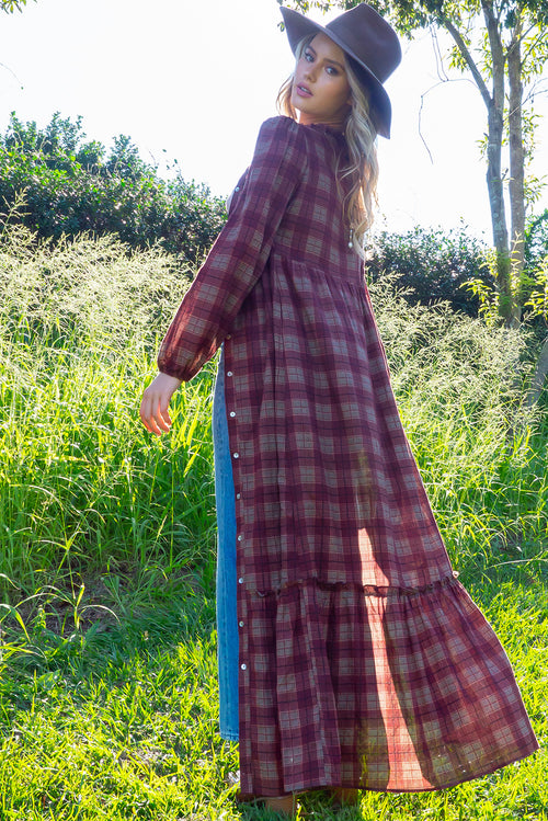 Prairie Chocolate Check Maxi Dress