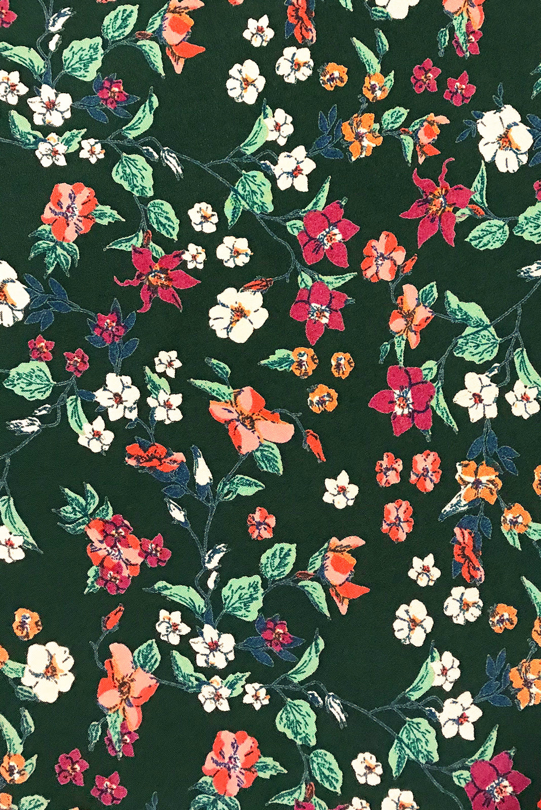 Fabric Swatch of Primrose Autumn Green Dress comes in woven 100% rayon in Green base with cream, pink and orange floral pattern.