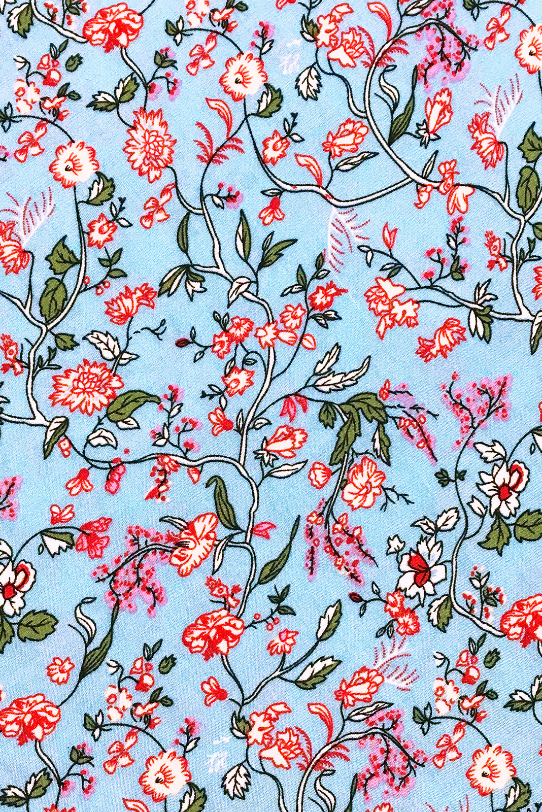 Fabric Swatch of Primrose Cornflower Blue Dress featuring woven 100% rayon in Sky blue base with pink floral vine print.