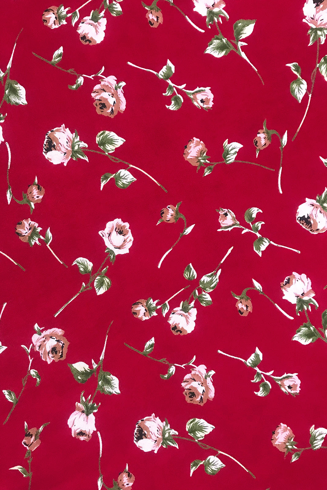 Fabric Swatch of Primrose Red Rosedrop Dress comes in woven 100% rayon in Crimson red base scattered with single stemmed roses.