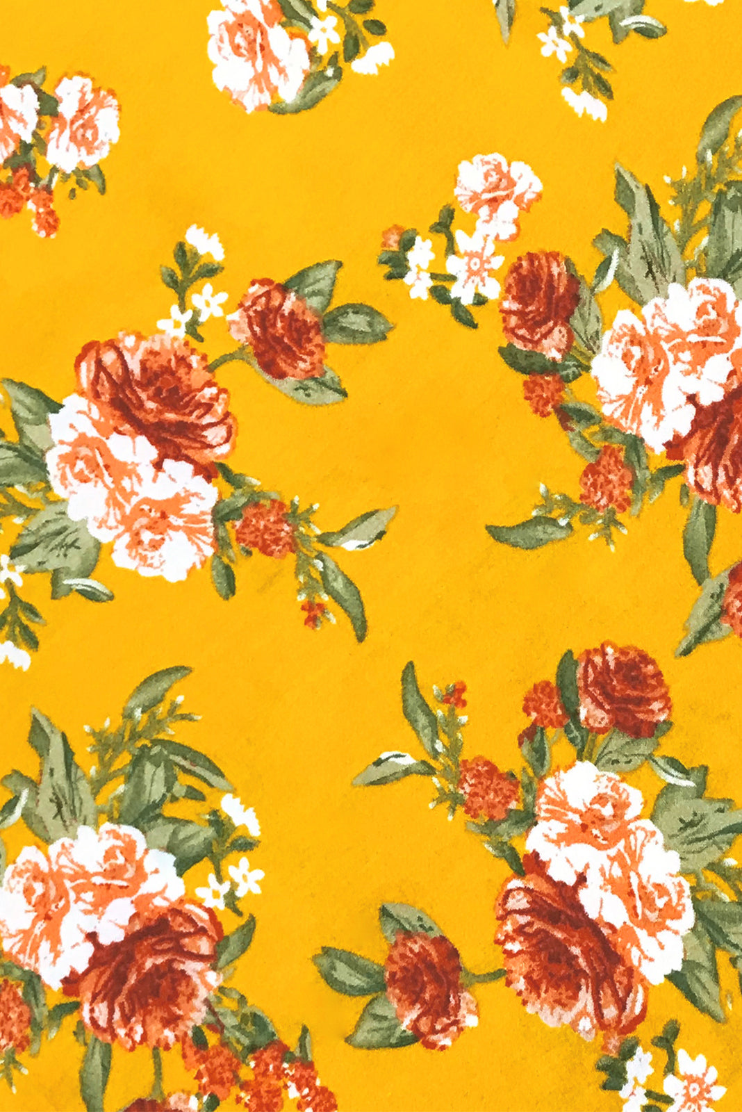 Fabric Swatch of Primrose Texas Gold Dress comes in woven 100% rayon in Rich, gold base with peach, white and amber floral print.