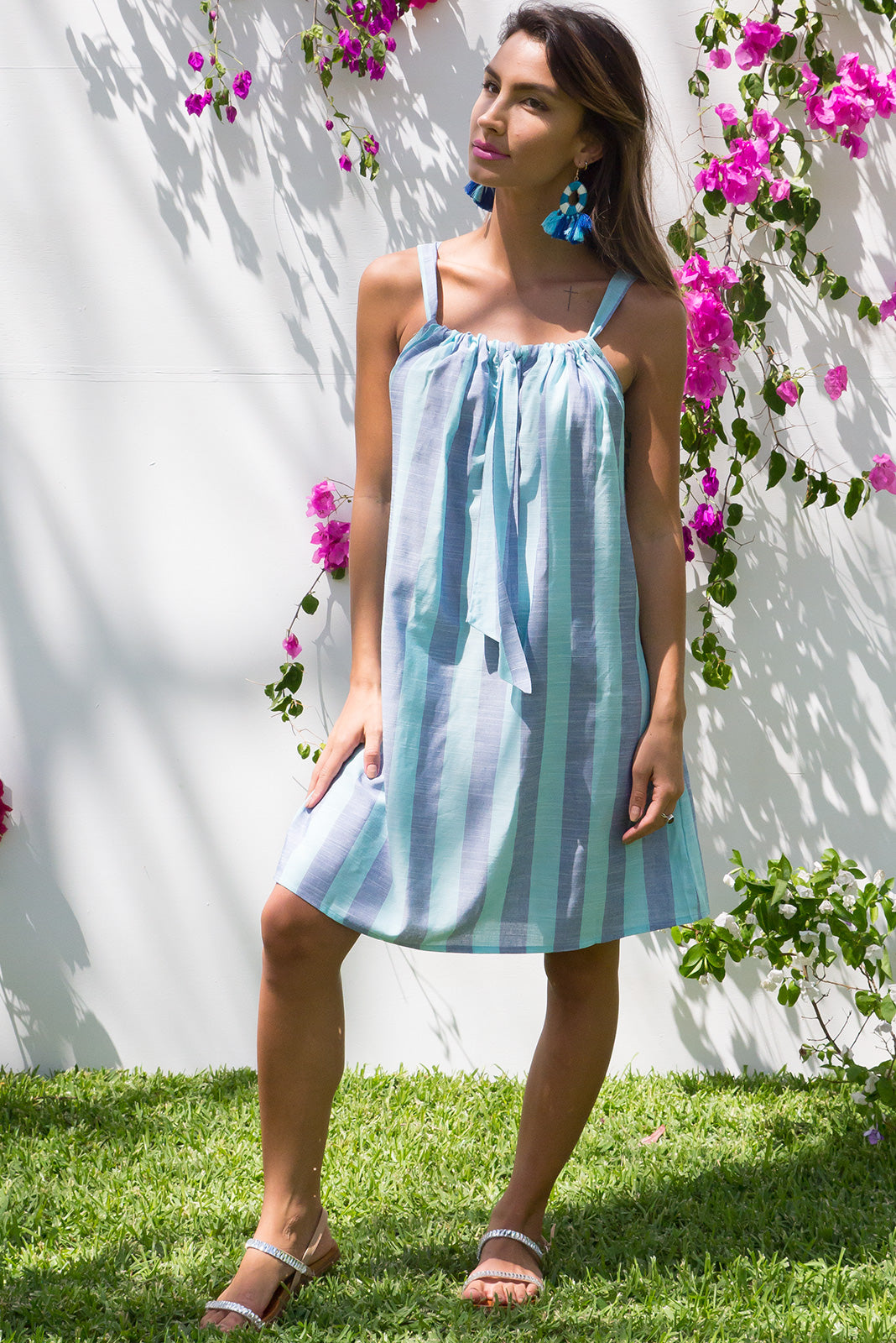 Rainbow Beach Blue Stripe Day Dress in a soft tonal blue striped cotton fabric
