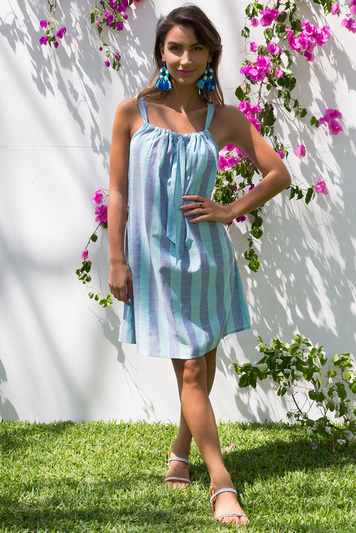 Rainbow Beach Blue Stripe Day Dress