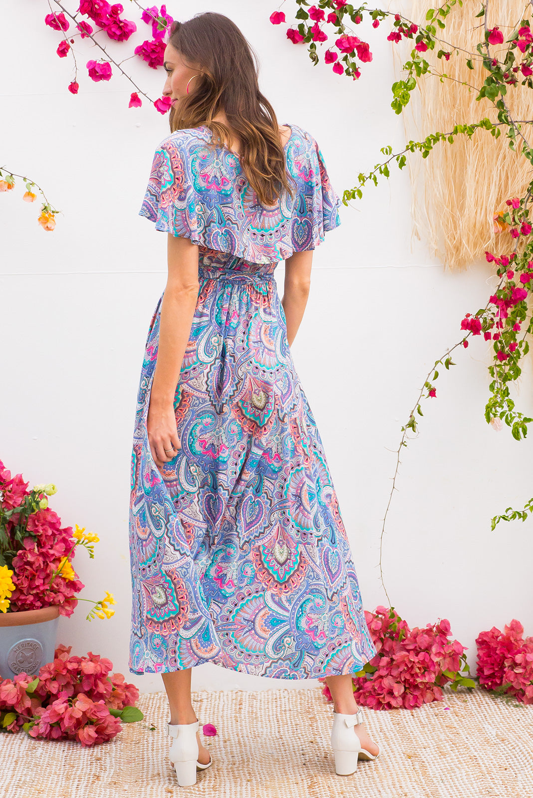 Rio Rita Blue Magic Maxi vintage inspired Wrap Dress with a full frill around the neck and sleeve in a soft sorbet coloured paisley print on rayon
