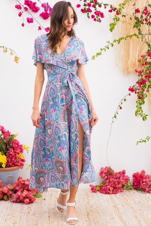 Rio Rita Blue Magic Maxi Wrap Dress