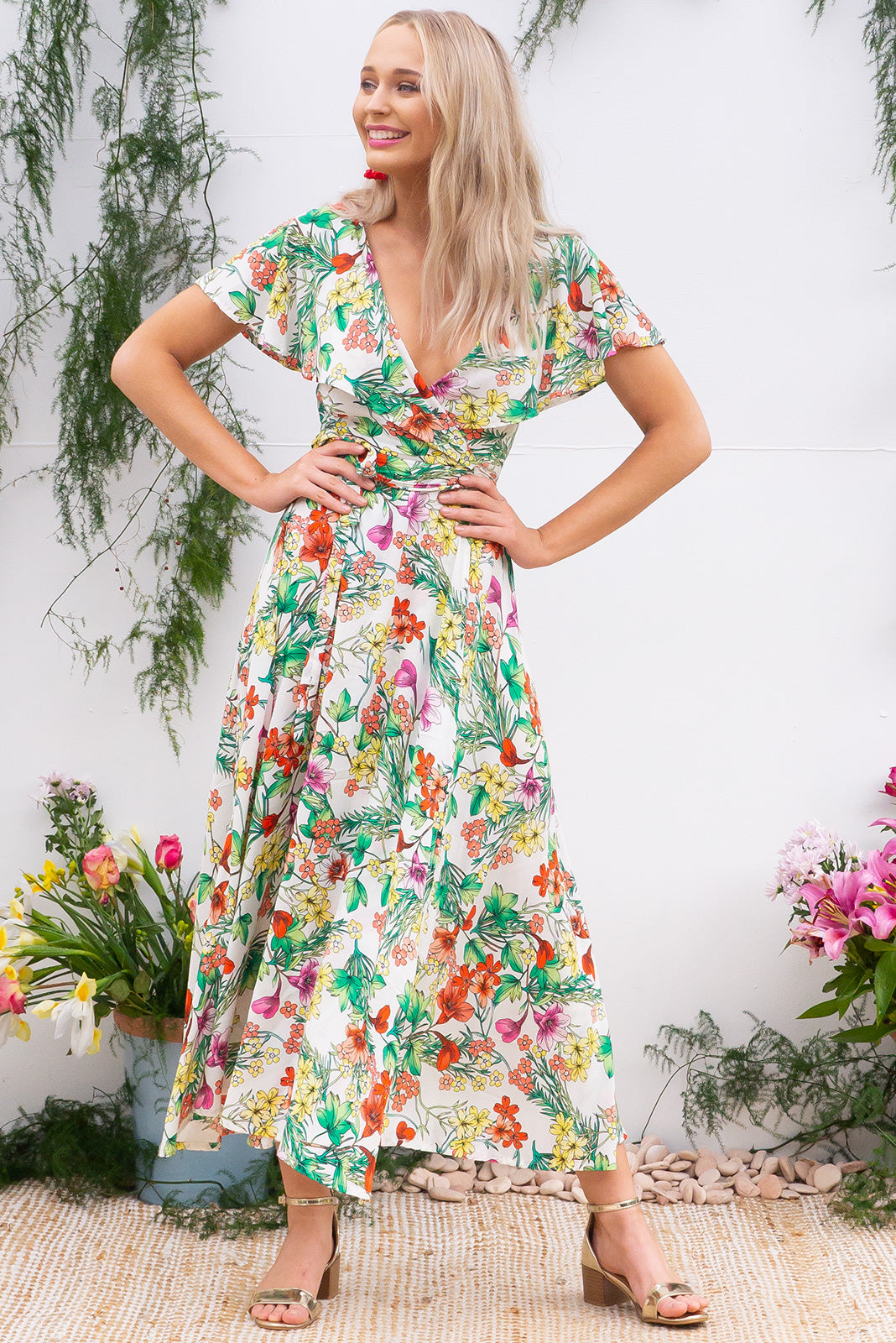 Rio Rita Herb Garden Maxi vintage inspired Wrap Dress with a full frill around the neck and sleeve in a soft cream floral and print on rayon